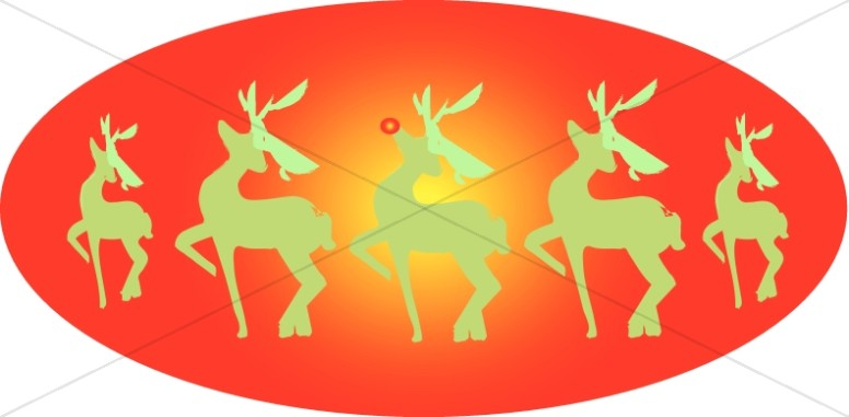 Rudolph and the Reindeers Clip Art