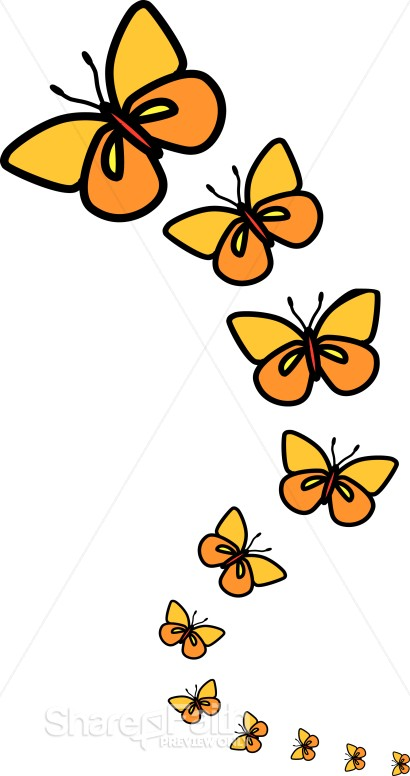 Line of Butterflies Clipart