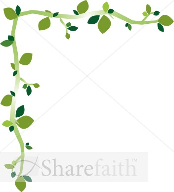 Fun Green Leaf Corner Border Leaf Borders