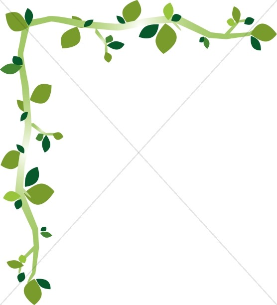 Fun Green Leaf Corner Border