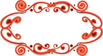 Red Fancy Oval Frame