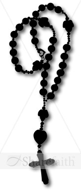 Silhouette Rosary Graphic Cross