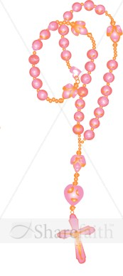 Pink Rosary Beads Cross Clipart