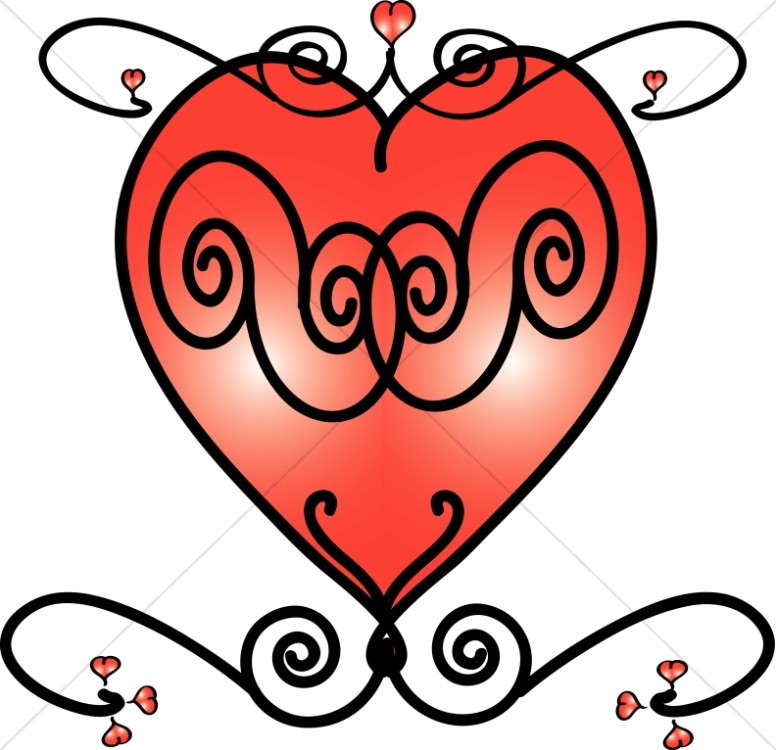 Red Hearts and Swirls