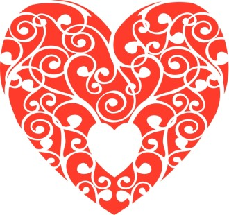Red Swirls Heart