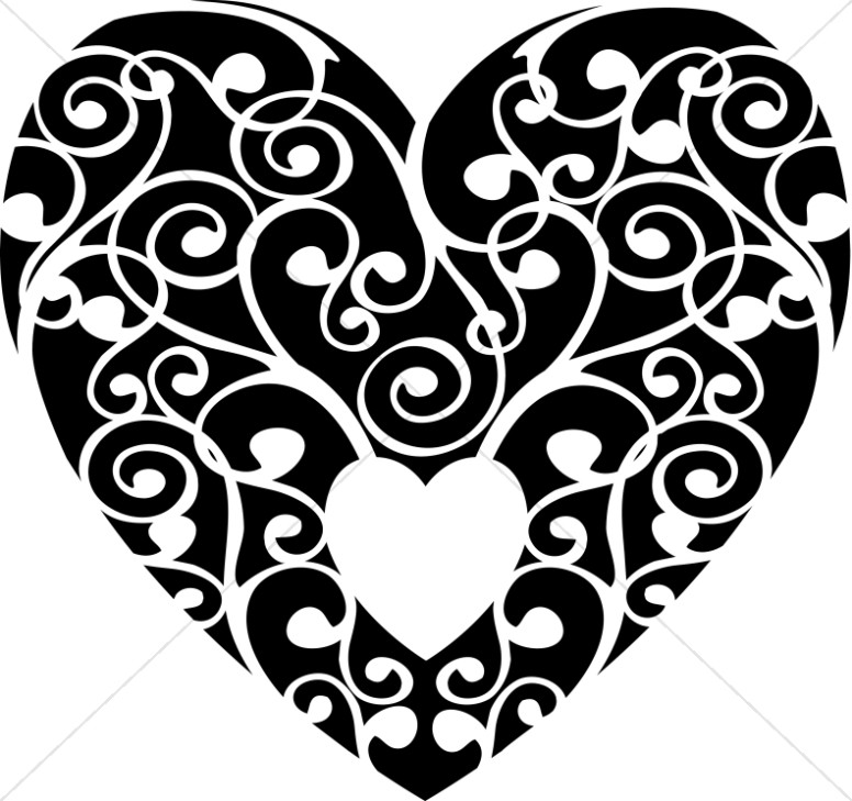 Black and White Swirls Heart
