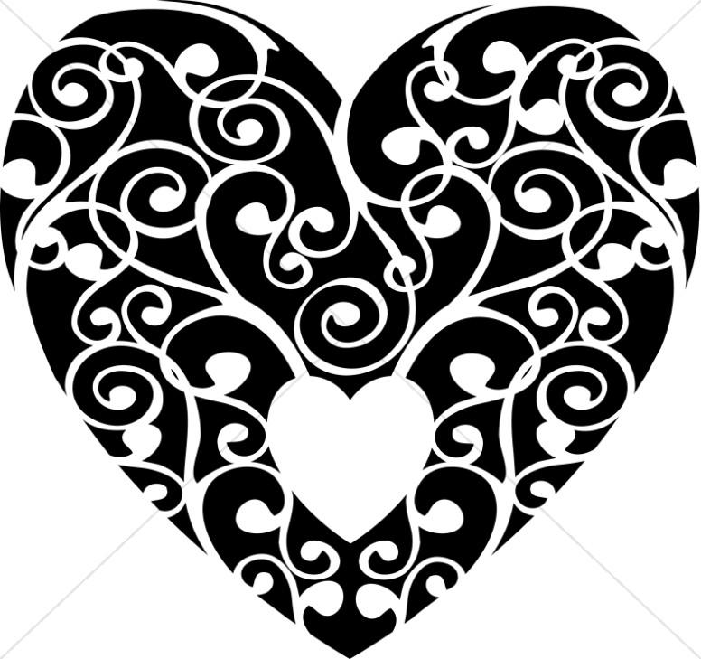 Black and White Swirls Heart