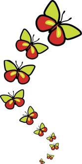 Row of Cute Butterflies