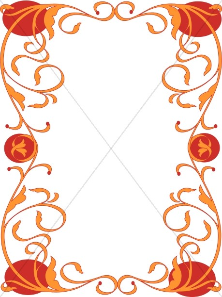 Orange and Red Asian Border
