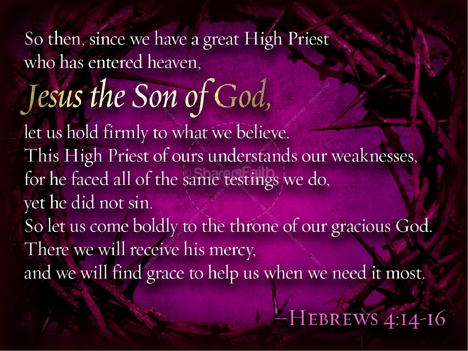 Jesus High Priest Resurrection
