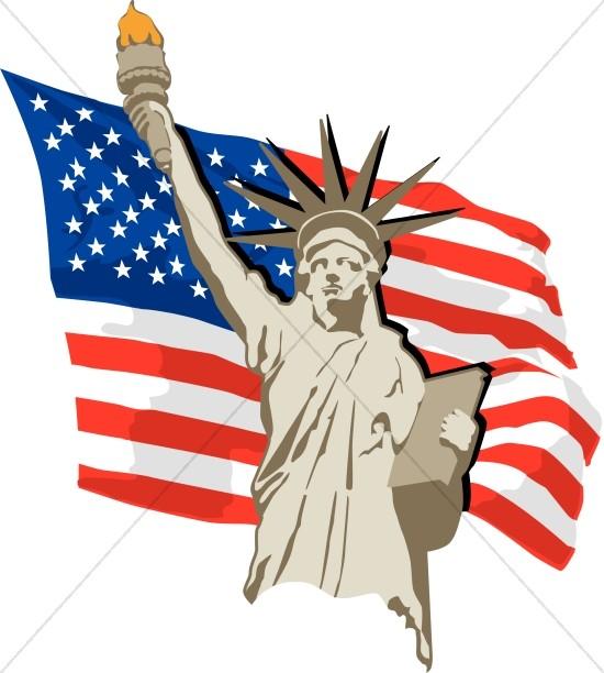 Statue of Liberty U.S Flag