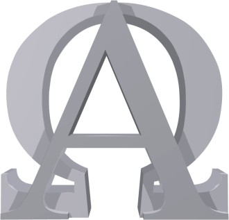Grey Alpha and Omega Sign