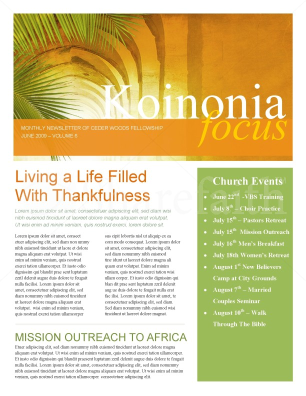 Palm Sunday Hosanna Newsletter