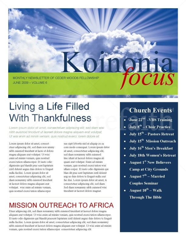 sun rays church newsletter template
