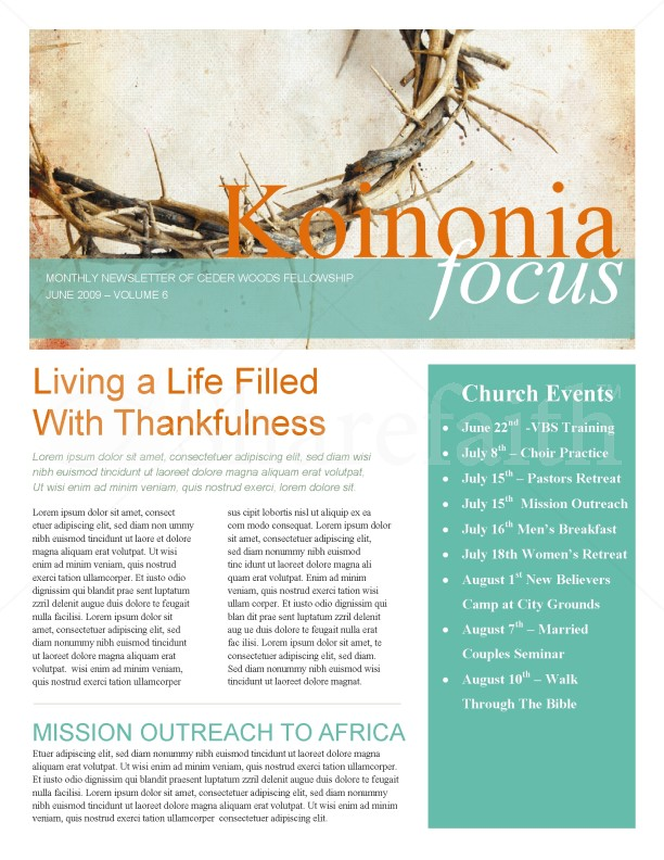 Crown Of Thorns Church Newsletter