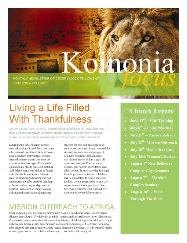 Lion Of Judah Church Newsletter