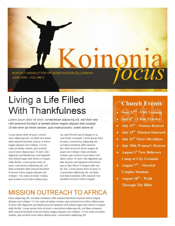 Arms Of Worship Church Newsletter | page 1