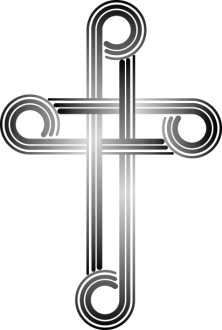 Cross Black and White Retro Clipart