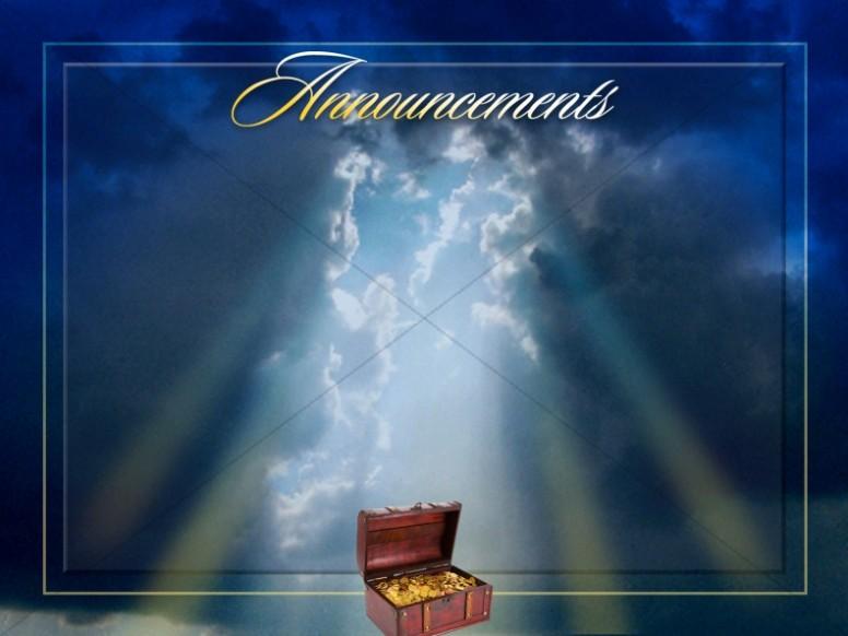 Treasure In Heaven Announcement Screen