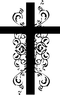 Black and White Christian Cross Clipart