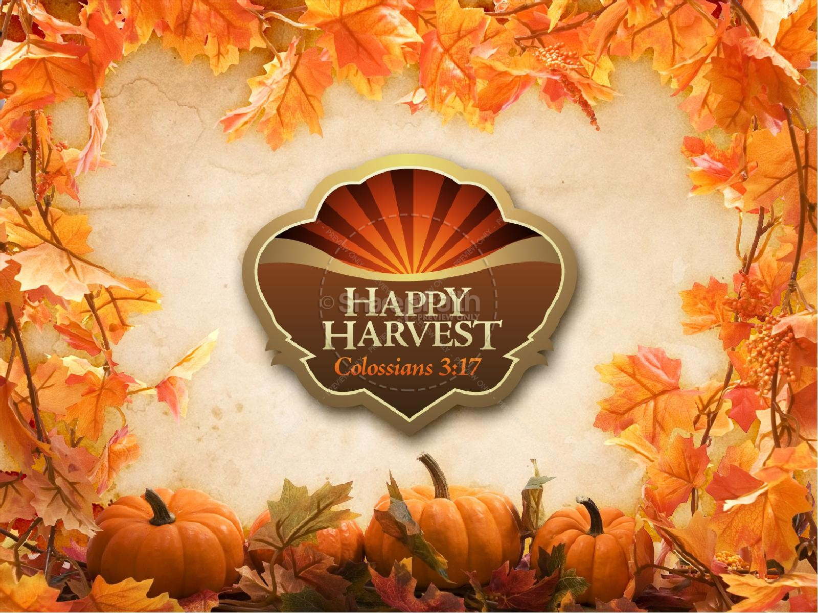 Happy Harvest Sermon Powerpoint Fall Thanksgiving