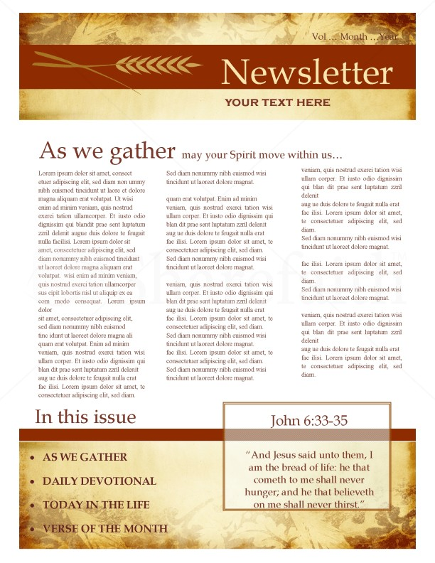 Fall newsletter design for Email bulletin template