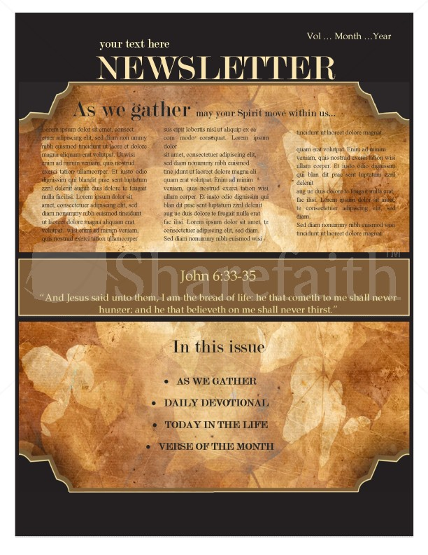 Autumn Church Newsletter Design Template Newsletter