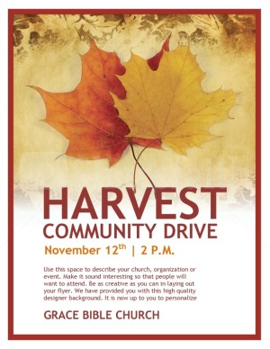harvest community drive church flyer template flyer templates. Black Bedroom Furniture Sets. Home Design Ideas