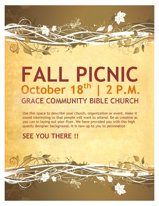 Fall Picnic Chruch Flyer Template | Flyer Templates