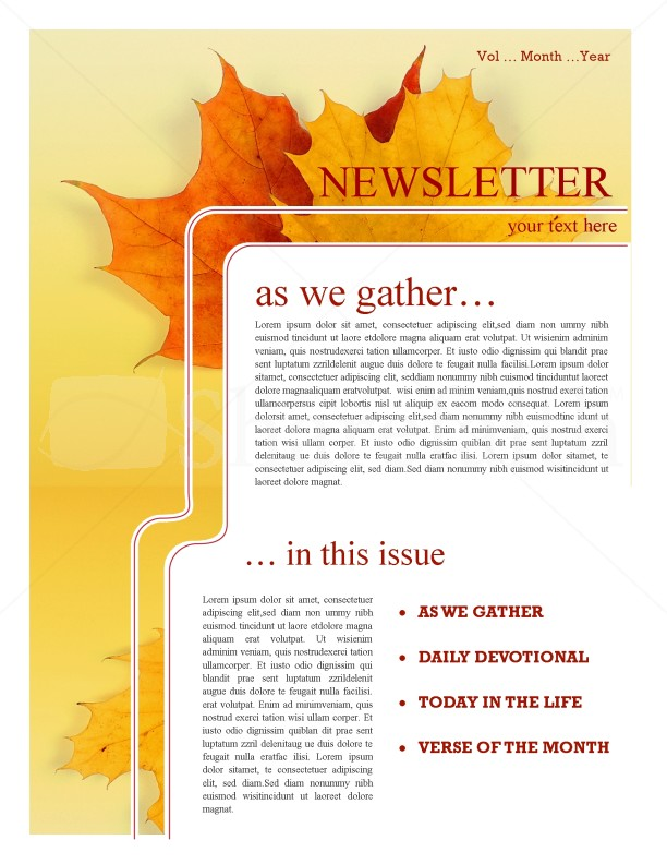 maple leaf church newsletter template