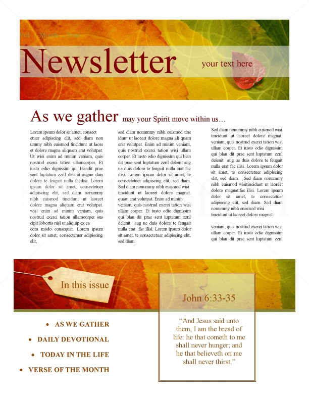 email bulletin template - newsletter design for fall template newsletter templates