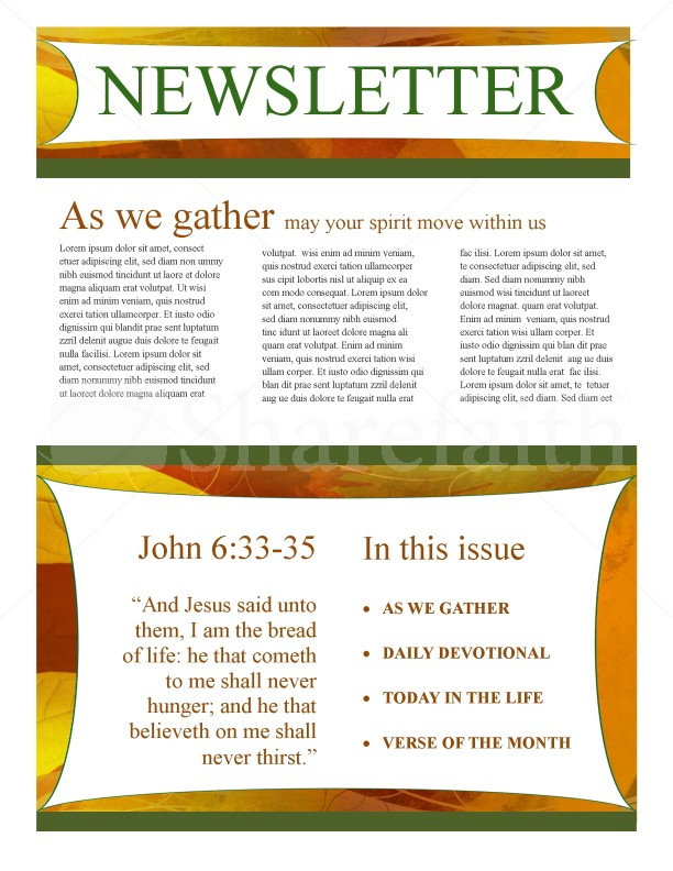 Fall Newsletter Template Design | page 1