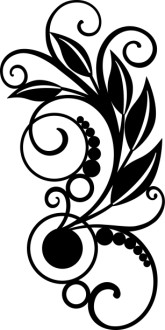 Vines with Leaves Black And Whit Clipart
