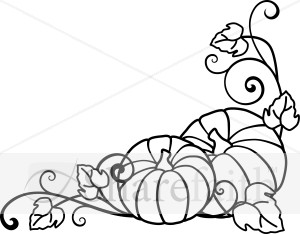 Pumpkins and Vines Lineart