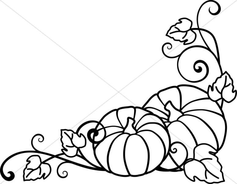 Line Art Vines : Pumpkins and vines lineart harvest day clipart