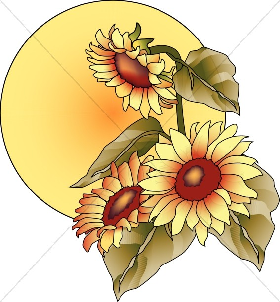 Sun with Sunflowers Clipart