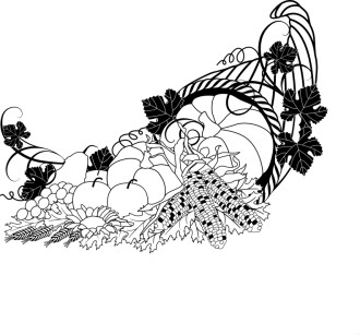 Cornucopia Black and White Clipart