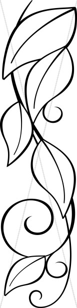 Leaves and Vines Swirl Line Art