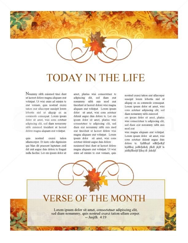 Heart Of Thanksgiving Newsletter Template Newsletter