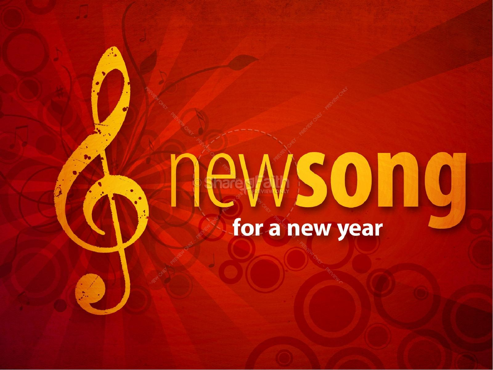 New Song New Year PowerPoint Template
