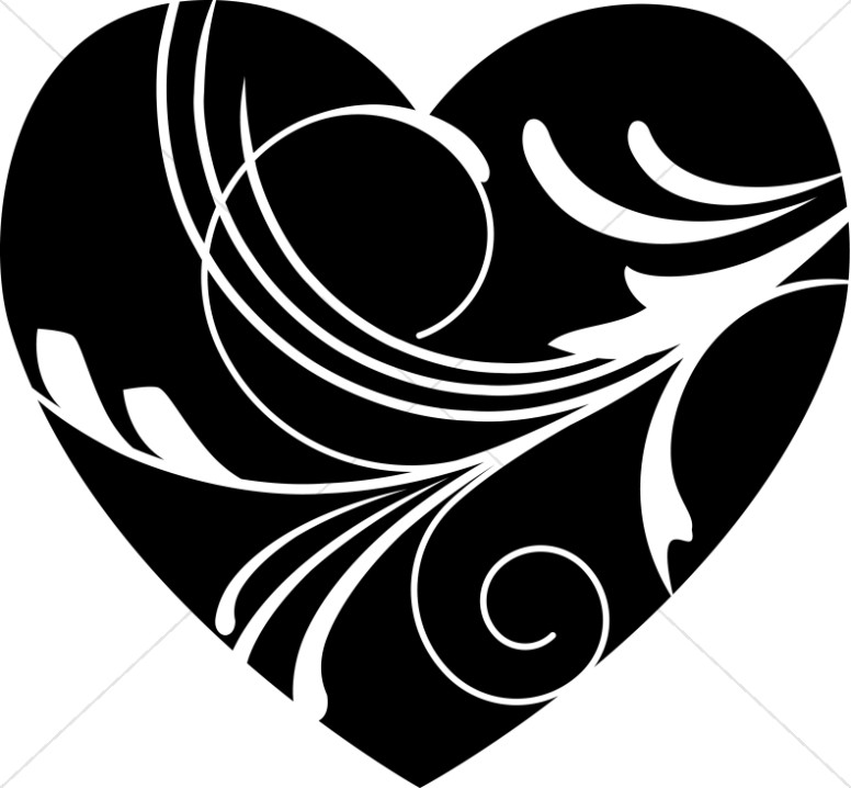Valentine's Day Black and White Heart