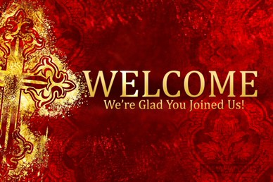 Valentines Day Gold Cross Welcome Video Screen