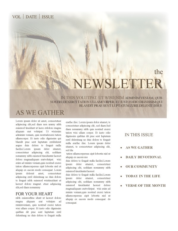 Christian Newsletter Templates