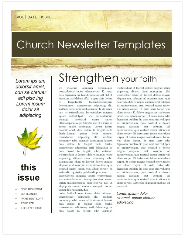 Fall Leaves Church Newsletter Template