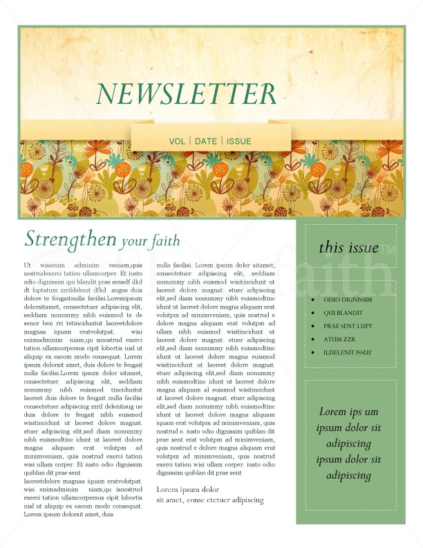 Fall Theme Church Newsletter | page 1