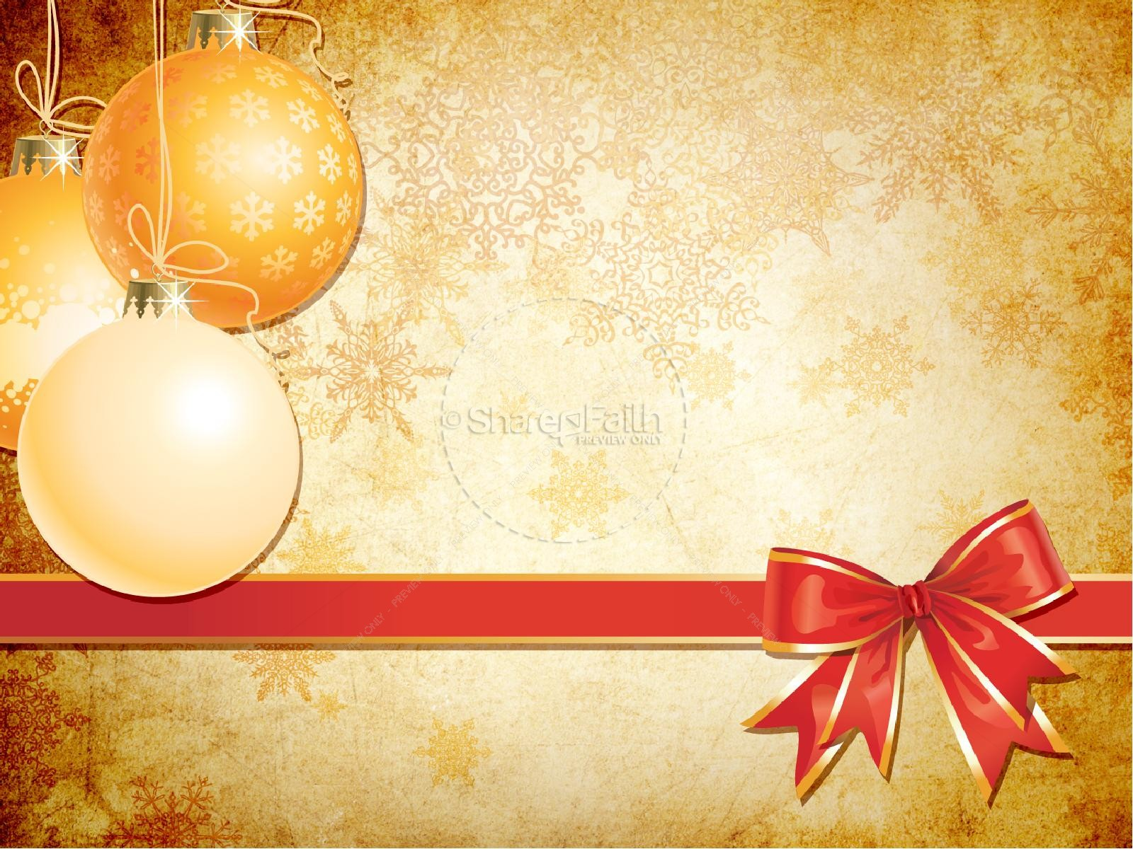 gold christmas decorations powerpoint template | christmas powerpoints, Powerpoint templates