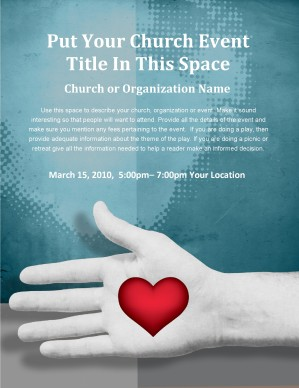 Valentine's Day Heart Church Flyer Template