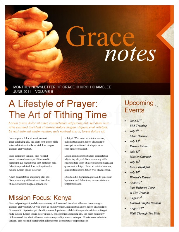 prayer church newsletter template newsletter templates