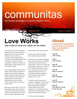 Decorative Orange Church Newsletter