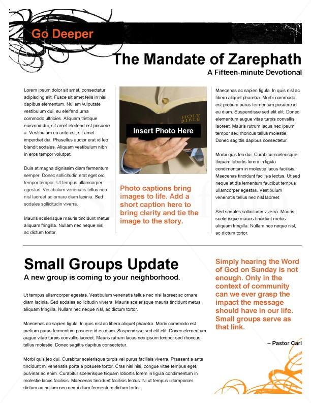 Decorative Orange Church Newsletter | page 3